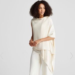 Eileen Fisher Cozy Knit Asymmetrical Wrap Vest S/M